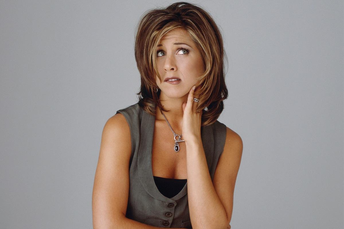 """Jennifer Aniston avec la coupe de cheveux """"Rachel"""""""