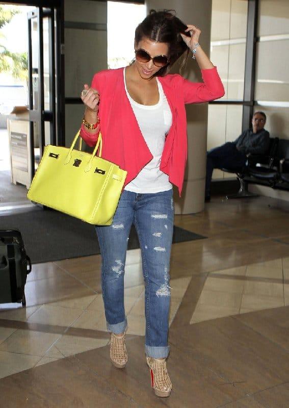 Kim Kardashian - Sac Birkin jaune